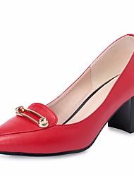 preiswerte -Damen Schuhe Leder Frühling / Sommer Komfort High Heels Blockabsatz Runde Zehe Schwarz / Beige / Rot