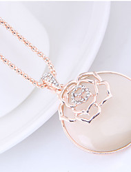 cheap -Women's Floral Flower Rhinestone Opal Pendant Necklace  -  Floral Fashion European Gold Necklace For Daily
