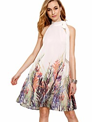 cheap -Women's Casual Loose Dress - Floral, Backless