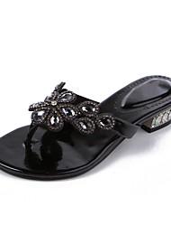 baratos -Mulheres Sapatos Poliuretano Primavera / Verão Botas da Moda Sandálias Sem Salto Dedo Aberto Pedrarias / Cristais / Gliter com Brilho