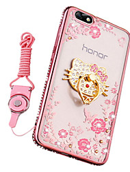 abordables -Coque Pour Huawei Honor 7X Antichoc Strass Avec Support Coque Fleur Flexible Silicone pour Huawei Honor 4X