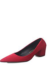 preiswerte -Damen Schuhe PU Frühling Sommer Komfort High Heels Blockabsatz Spitze Zehe für Normal Kleid Schwarz Grau Rot
