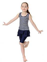 cheap -Girls' Boho Color Block Swimwear, Polyester Nylon Spandex Half Sleeves Sleeveless Blushing Pink Navy Blue