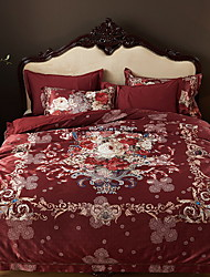 cheap -Duvet Cover Sets Embellished&Embroidered 4 Piece Poly/Cotton 100% Cotton Printed Poly/Cotton 100% Cotton 1pc Duvet Cover 2pcs Shams 1pc