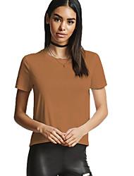 preiswerte -Damen Solide - Street Schick Festtage Baumwolle T-shirt Schlank Rückenfrei
