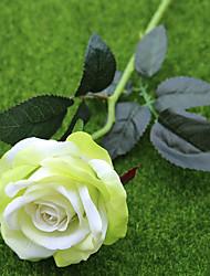 abordables -2 Une succursale Polyester Plastique Roses Fleur de Table Fleurs artificielles Décoration d'intérieur Fleurs de mariage