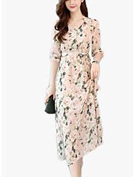 abordables -Mujer Boho Gasa Vestido - Estampado, Floral Midi