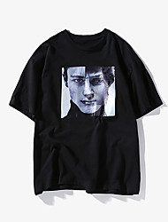 baratos -Homens Camiseta Moda de Rua Retrato