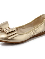 Недорогие -Жен. Обувь Лакированная кожа Весна / Осень Удобная обувь / Балетки На плокой подошве На плоской подошве Круглый носок Бант Золотой /