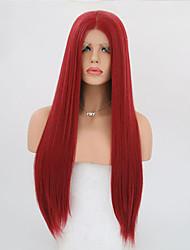 Недорогие -Синтетические кружевные передние парики Прямой Искусственные волосы Красный Парик Жен. Длинные Лента спереди Красный