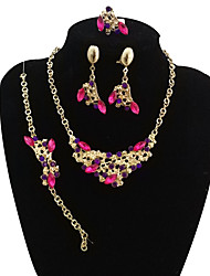 cheap -Women's Rhinestone Oversized Leaf Jewelry Set 1 Necklace / 1 Bracelet / 1 Ring - Vintage / Oversized / Statement Black / Rainbow Jewelry