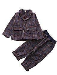 cheap -Boys' Daily Striped Suit & Blazer, Polyester Spring Long Sleeves Vintage Purple