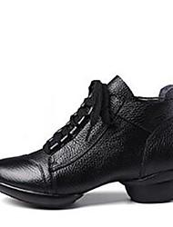 Недорогие -Жен. Танцевальные сапожки Наппа Leather С раздельной подошвой На низком каблуке Персонализируемая Танцевальная обувь Белый / Черный