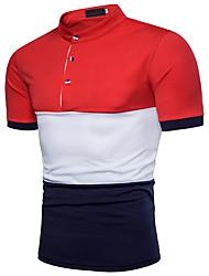 baratos -Homens Polo Activo Básico, Estampa Colorida Algodão Colarinho de Camisa / Manga Curta