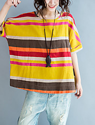 cheap -Women's Plus Size Batwing Sleeve Cotton Loose T-shirt - Striped Tassel Print