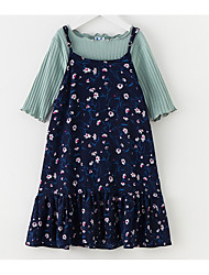 cheap -Kids Girls' Simple Floral 3/4 Length Sleeve Dress