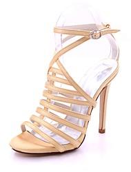 Mulheres Sapatos Cetim Primavera Verão Plataforma Básica Sandálias Salto Agulha Dedo Aberto Presilha para Casamento Festas & Noite Prata