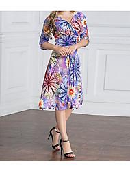 cheap -Women's Boho A Line Dress - Floral, Print High Waist V Neck