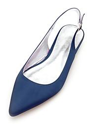 economico -Per donna Scarpe Raso Primavera / Estate Comoda scarpe da sposa Piatto Appuntite Blu scuro / Argento / Avorio