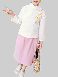 Недорогие -Дети Девочки Шинуазери (китайский стиль) На выход Цветочный принт Длинный рукав Хлопок Набор одежды