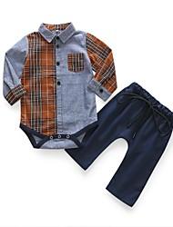 Недорогие -малыш Мальчики Простой / Классический Повседневные В клетку Длинный рукав Хлопок Набор одежды Серый