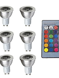cheap -6pcs 3W 280lm GU10 LED Spotlight 1 LED Beads Dimmable Decorative Remote-Controlled RGB 200-240V