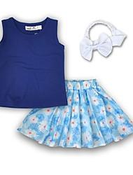 abordables -Chica Noche Festivos Un Color Floral Estampado Conjunto de Ropa, Algodón Acrílico Primavera Verano Sin Mangas Bonito Activo Azul Piscina