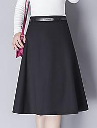 abordables -Femme Grandes Tailles Basique Coton Trapèze Jupes - Couleur Pleine