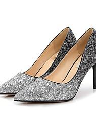 preiswerte -Damen Schuhe Glitzer Frühling Herbst Pumps High Heels Stöckelabsatz Spitze Zehe Paillette für Hochzeit Party & Festivität Schwarz Silber