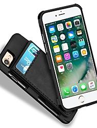 Недорогие -Кейс для Назначение Apple iPhone 7 Plus iPhone 7 Бумажник для карт Кошелек Защита от удара Кейс на заднюю панель Сплошной цвет Твердый