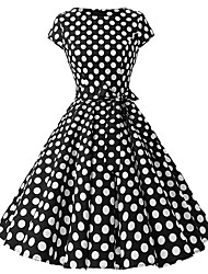 cheap -Women's Plus Size Basic Puff Sleeve Sheath Dress - Polka Dot Print