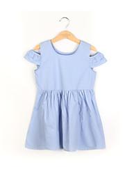 abordables -Robe Fille de Quotidien Couleur Pleine Coton Eté Manches 3/4 simple Bleu