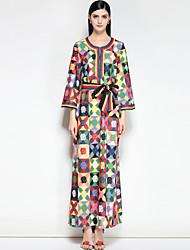 abordables -Femme Grandes Tailles Mignon Bohème Ample Robe - Basique, Fleur Maxi