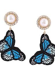abordables -Femme Papillon Imitation de perle Boucles d'oreille goutte - Rétro / Décontracté Orange / Bleu / Rose Des boucles d'oreilles Pour Fête /