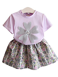 cheap -Girls' Daily Going out Floral Clothing Set, Rayon Polyester Summer Short Sleeves Cute Street chic Purple