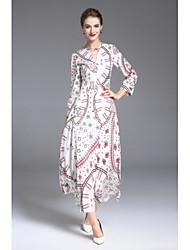 cheap -MMLJ Women's Sophisticated Lantern Sleeve Chiffon Dress - Floral, Print