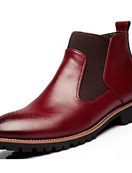 abordables -Homme Chaussures PU de microfibre synthétique Automne Hiver boîtes de Combat Confort Bottes pour Décontracté Noir Vin Brun claire