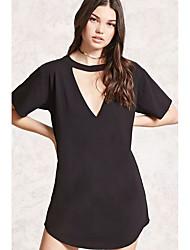 abordables -Femme Tee Shirt Robe - Ouvert, Couleur unie Col en V Asymétrique