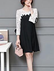 cheap -Women's Plus Size Loose Sheath Dress - Color Block, Cut Out