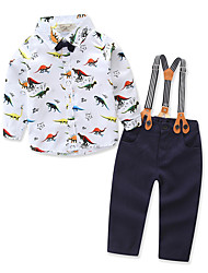 cheap -Boys' Party Daily Animal Print Clothing Set, Cotton Polyester Spring Fall Long Sleeves Simple Casual White