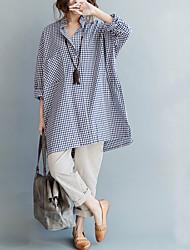 abordables -Mujer Encaje - Algodón Camiseta Un Color Manga Tulipán