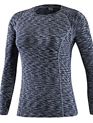 cheap -Women's Running Shirt - Red, Blue, Grey Sports Solid Colored Tee / T-shirt Exercise & Fitness Long Sleeve Activewear Breathability Stretchy