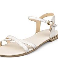 preiswerte -Damen Schuhe Leder Frühling / Sommer Komfort Sandalen Walking Flacher Absatz Offene Spitze Booties / Stiefeletten Schnalle Schwarz /