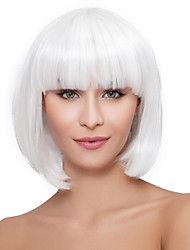 cheap -Synthetic Wig Curly Bob Haircut With Bangs Natural Hairline White Women's Capless Celebrity Wig Party Wig Natural Wigs Cosplay Wig Short