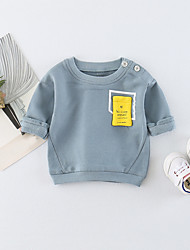 cheap -Baby Unisex Daily Solid Tee, Cotton Spring Summer Simple Casual Long Sleeves Orange Light Blue