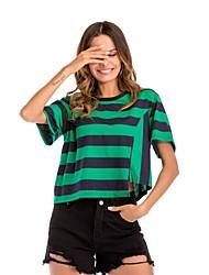 preiswerte -Damen Gestreift T-shirt Lose Patchwork