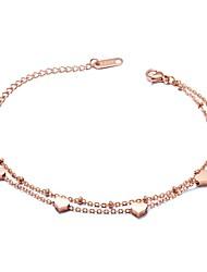 abordables -Breloque Charms Bracelet Femme Inoxydable Cœur dames Basique Bracelet Bijoux Or Rose pour Cérémonie Vacances