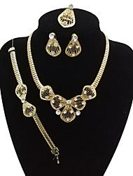 preiswerte -Damen Strass überdimensional Tropfen Schmuck-Set 1 Halskette / 1 Armreif / 1 Ring - Retro / überdimensional / Erklärung Gold Schmuckset /