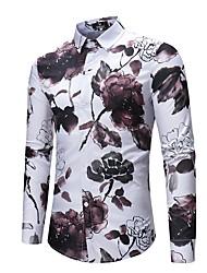 Недорогие -Муж. С принтом Рубашка Активный Уличный стиль Цветочный принт