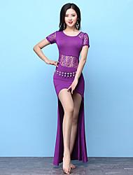 abordables -Danza del Vientre Accesorios Mujer Entrenamiento Modal Diseño / Estampado Combinación Manga Corta Cintura Alta Vestido Pantalones cortos